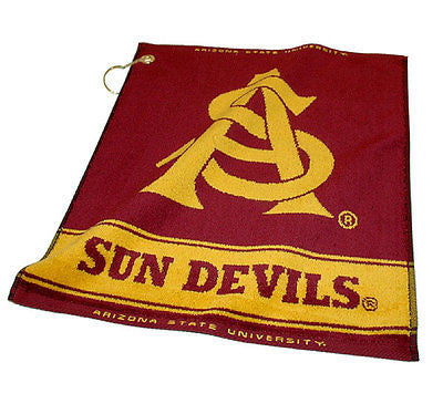"NCAA Arizona State Sun Devils Woven Golf Towel 16"" x 19"" Club Bag Jacquard"