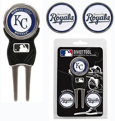 MLB Kansas City Royals Golf Divot Tool and 3 Ball Markers Enamel Team Logo