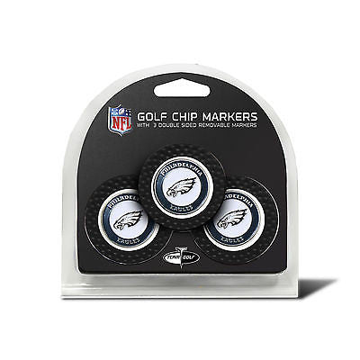 NFL Philadelphia Eagles 3 Pack Golf Ball Markers Poker Chip Enamel 2 Sided