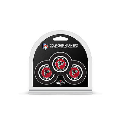 NFL Atlanta Falcons 3 Pack Golf Ball Markers Poker Chip Enamel 2 Sided