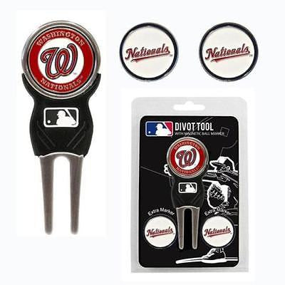 MLB Washington Nationals Golf Divot Tool and 3 Ball Markers Enamel Team Logo