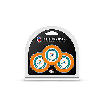 NFL Miami Dolphins 3 Pack Golf Ball Markers Poker Chip Enamel 2 Sided