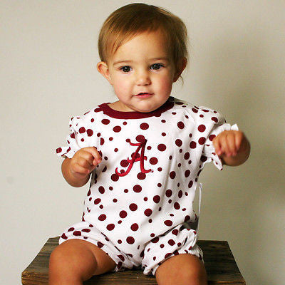 NCAA Alabama Crimson Tide Baby Romper Polka Dot Newborn 6 12 Months Infant Kids