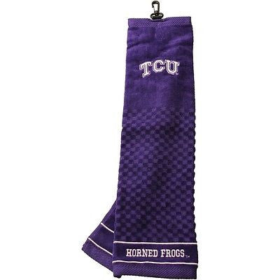 "NCAA TCU Horned Frogs Golf Towel Embroidered Tri-Fold 16"" x 25"" Club Bag"
