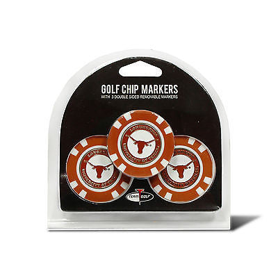 NCAA Texas Longhorns 3 Pack Golf Ball Markers Poker Chip Enamel 2 Sided