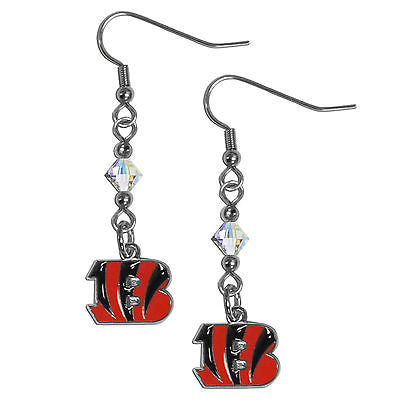 NFL Cincinnati Bengals Crystal Dangle Earrings Set J Hook Charm Jewelry