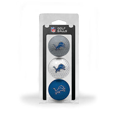 NFL Detroit Lions Regulation Golf Balls 3 Pack Sleeve Putting Club Course Three