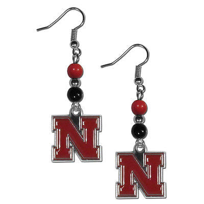 NCAA Nebraska Cornhuskers Bead Dangle Earrings Set J Hook Charm Jewelry