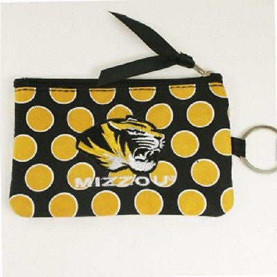 NCAA Missouri Tigers Coin Purse Keychain ID Wallet Polka Dot Pouch Change Ring