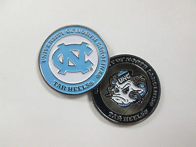 NCAA North Carolina Tarheels Golf Ball Marker Enamel Metal Team Logo 2 Sided Hat