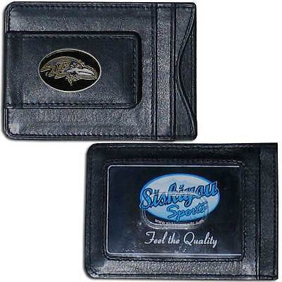 NFL Baltimore Ravens Black Leather Money Clip Card Holder Full Grain Wallet