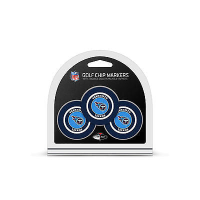 NFL Tennessee Titans 3 Pack Golf Ball Markers Poker Chip Enamel 2 Sided