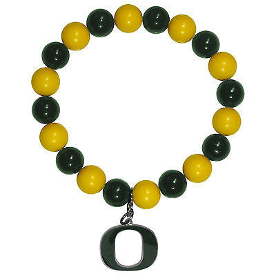 NCAA Oregon Ducks Bead Bracelet Lucky Jewelry Stretch Wrist Enamel Charm