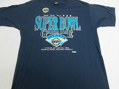 NFL Super Bowl XXVIII 1994 Cowboys Bills Football Blue T-Shirt Team Shirt 10