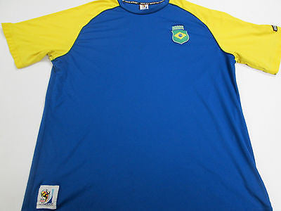 Brasil National South Africa World Cup Blue Futbol Soccer Brazil Jersey Shirt 8