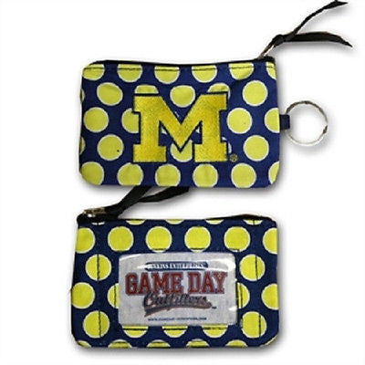NCAA Michigan Wolverines Coin Purse Keychain ID Wallet Polka Dot Pouch Change