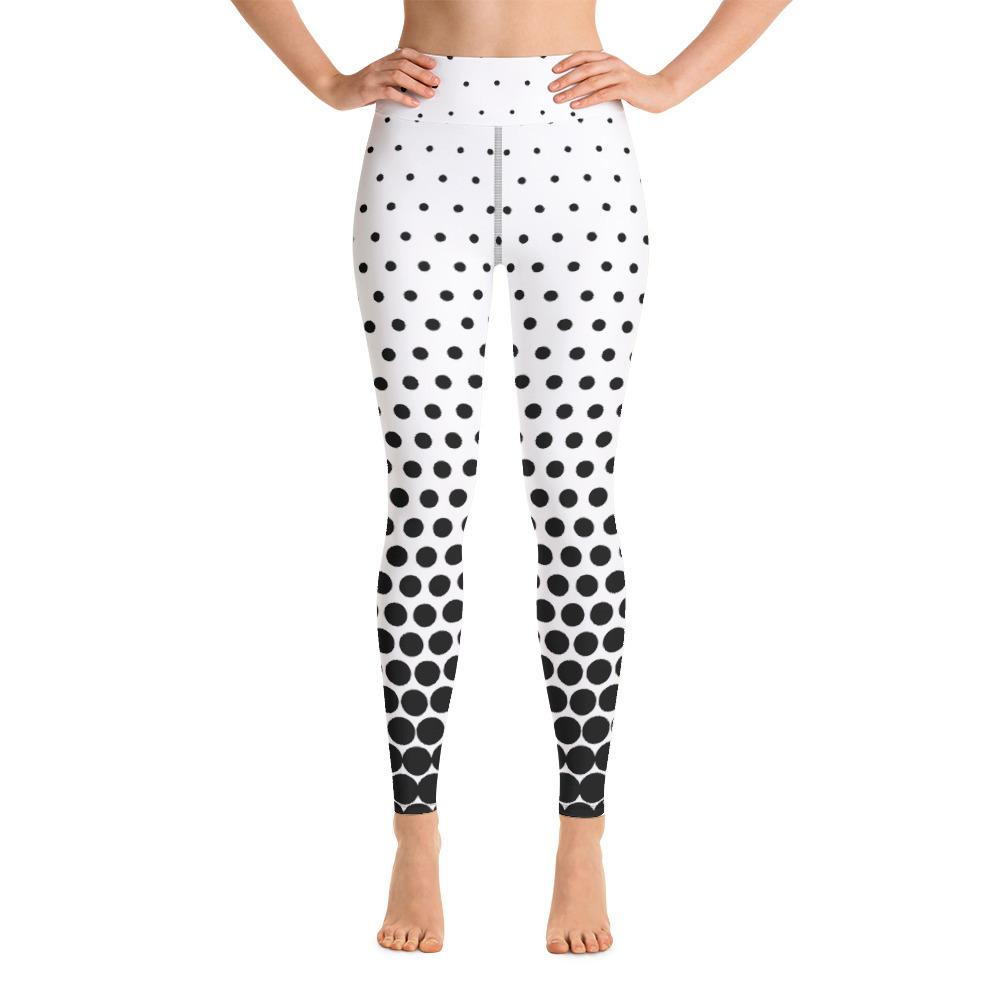 Starline Faded Polka Dot black and white Yoga Leggings-Leggings-Pickled Peppa