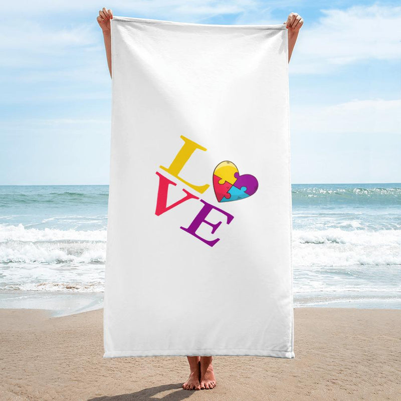 Towel with LOVE Autism Emblem-Towels-Pickled Peppa