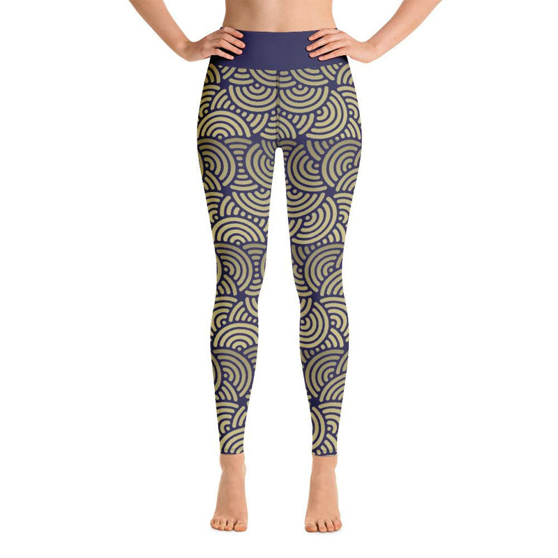 Art Nouveau Ring Pattern Yoga Leggings-Leggings-Pickled Peppa