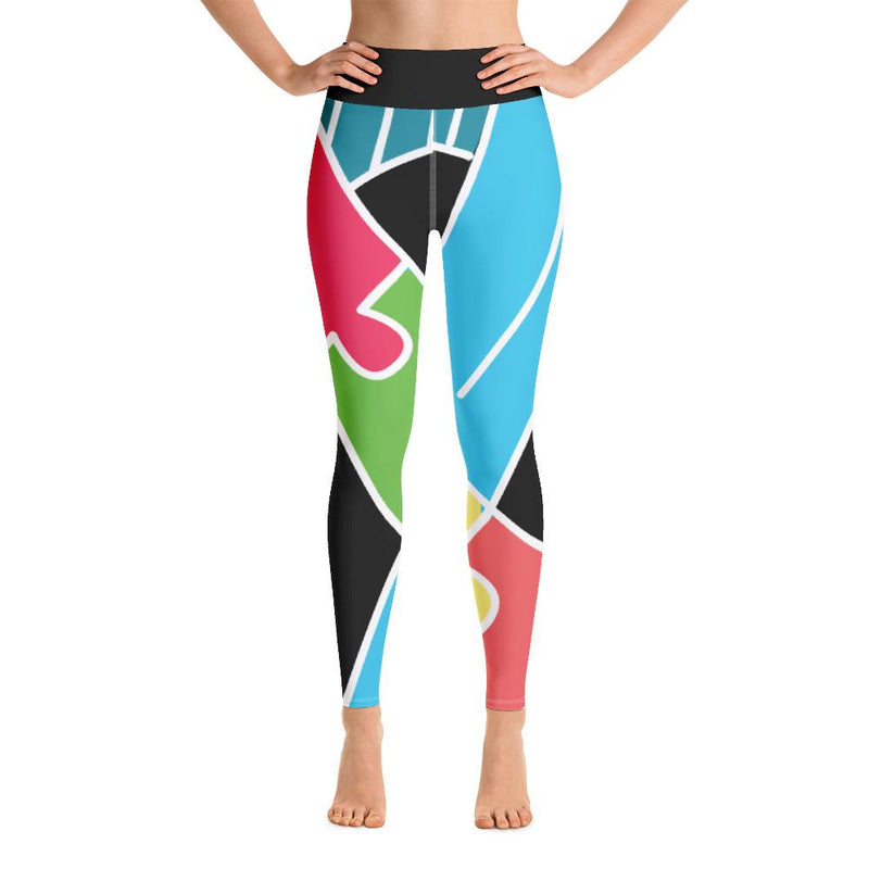 Ribbon Design Autism Awareness Yoga Leggings-Leggings-Pickled Peppa