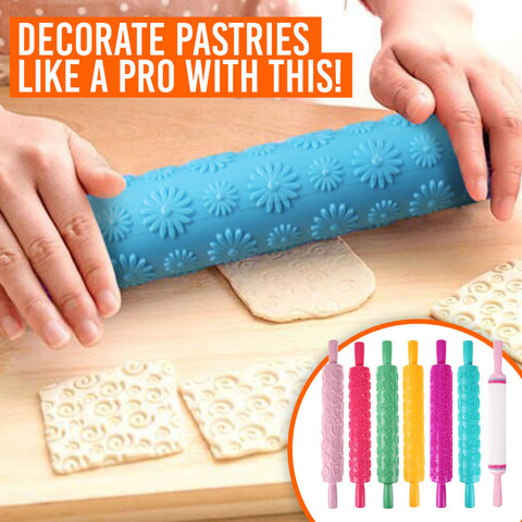 Embossed Rolling Pin Gives Design To Your Baking!-KITCHEN-Pickled Peppa