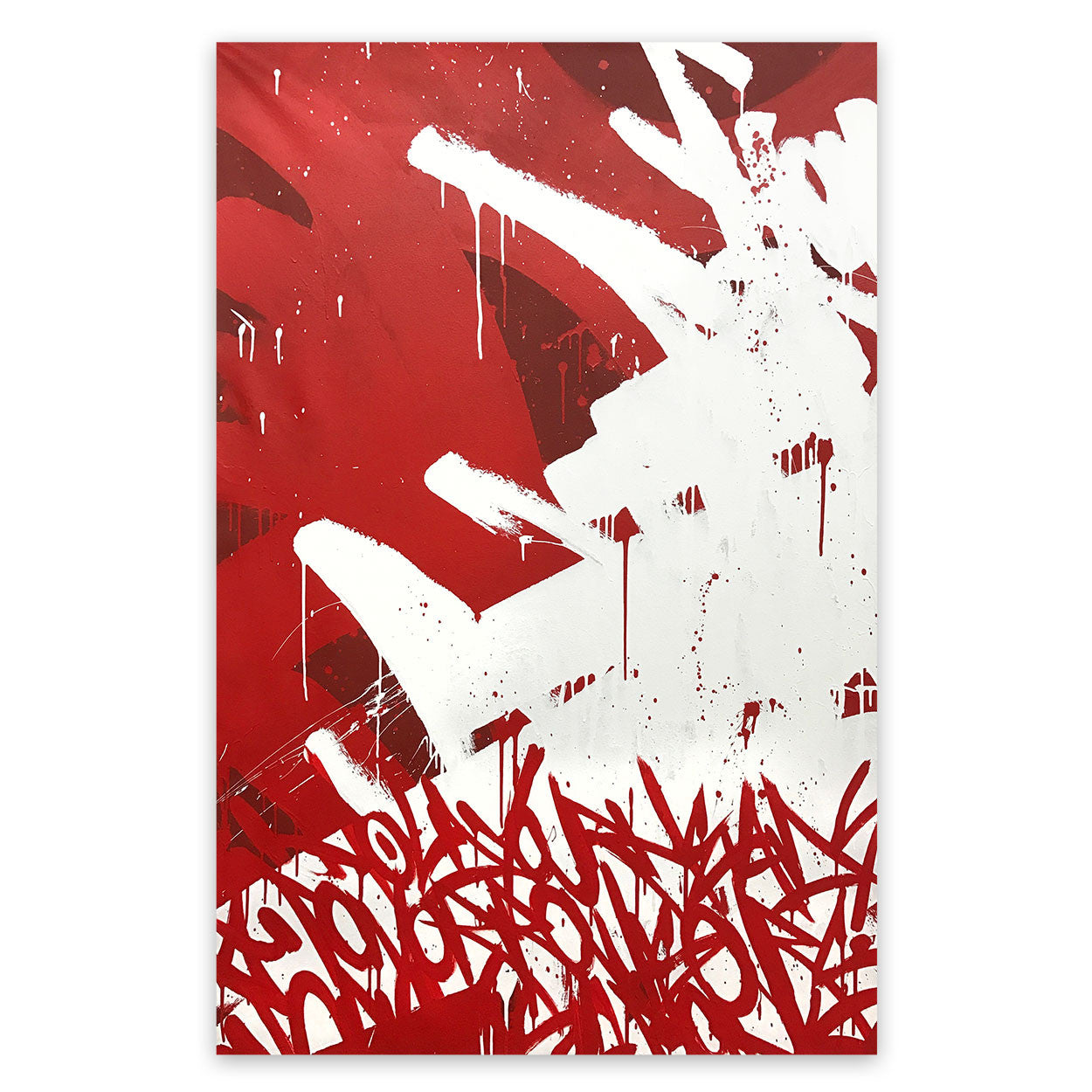 Red and white, street art - graffiti - music influenced abstract art painting by urban artist Bisco Smith.