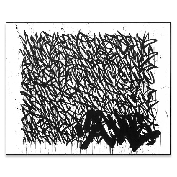 Black and white, street art - graffiti - music influenced abstract art painting by urban artist Bisco Smith.