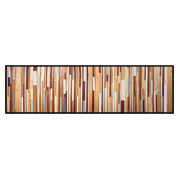 Light Natural Wood Wall Art with Blue