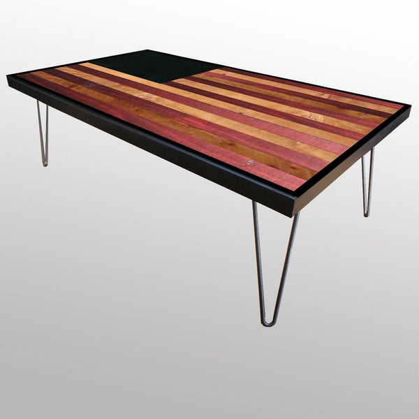 American Flag weathered reclaimed wood table with hairpin legs - corner view