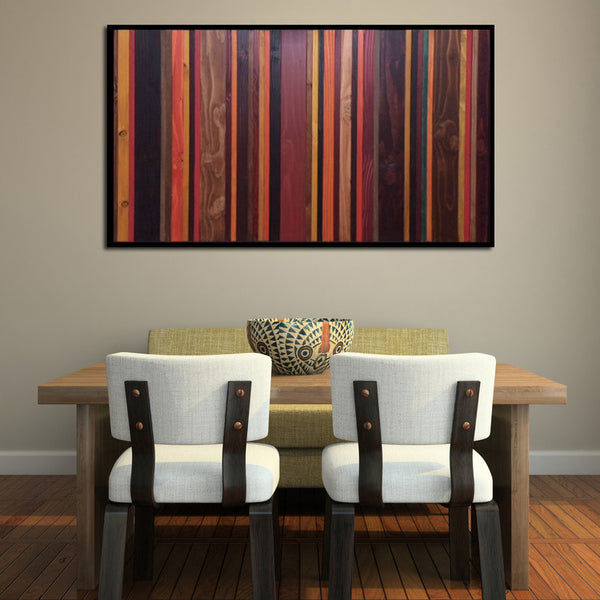 Autumn colors wood wall art above table