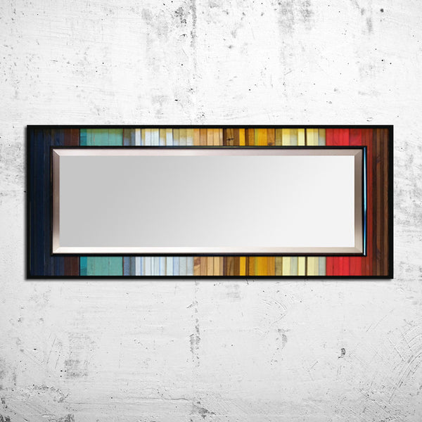 Gradient Reflection Wood Wall Art - Leaner Mirror Floor Mirror