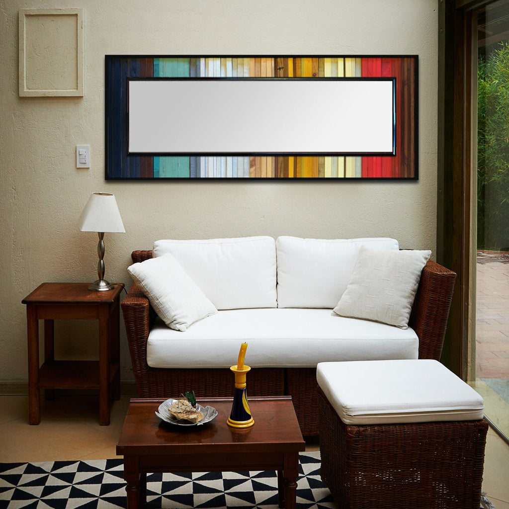 Gradient Wood Wall Art Mirror in Living Room - Horizontal