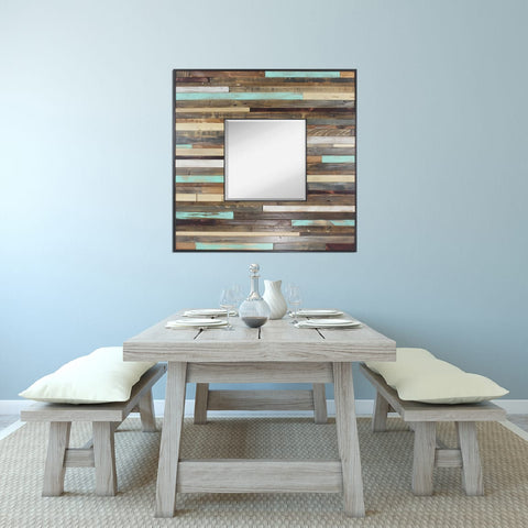Large Square Reclaimed Reflection Wood Wall Art Wall Mirror