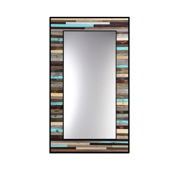 "Blue Reclaimed Reflection - 24""x48"" - Wood Wall Art Mirror"