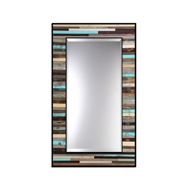 Blue Reclaimed Reflection - Wood Wall Art Mirror
