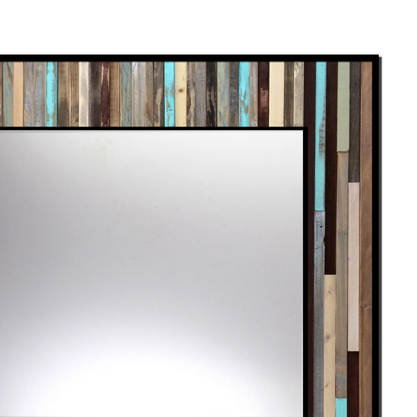 Reclaimed Blue Reflection Wood Wall Art - Leaner Mirror