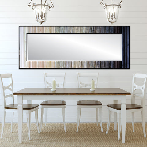 Black and white reclaimed wood mirror - horizontal above table