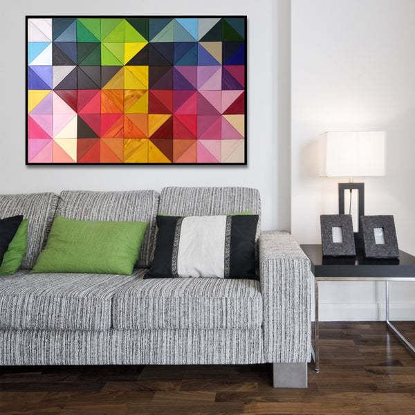 "Rainbow Triangles ""Origami"" Wood Wall Art"