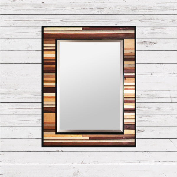 Brown Reclaimed Reflection - Wood Wall Art Mirror
