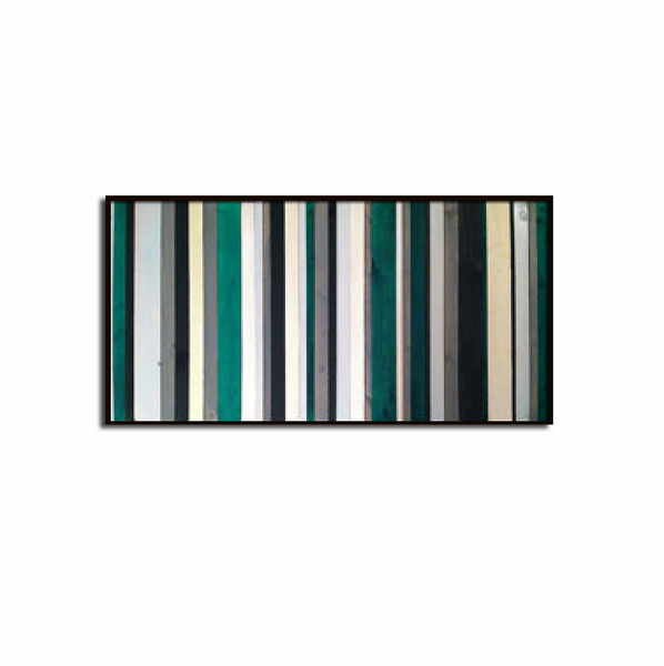 Emerald City Green and White Striped Wood Wall Art
