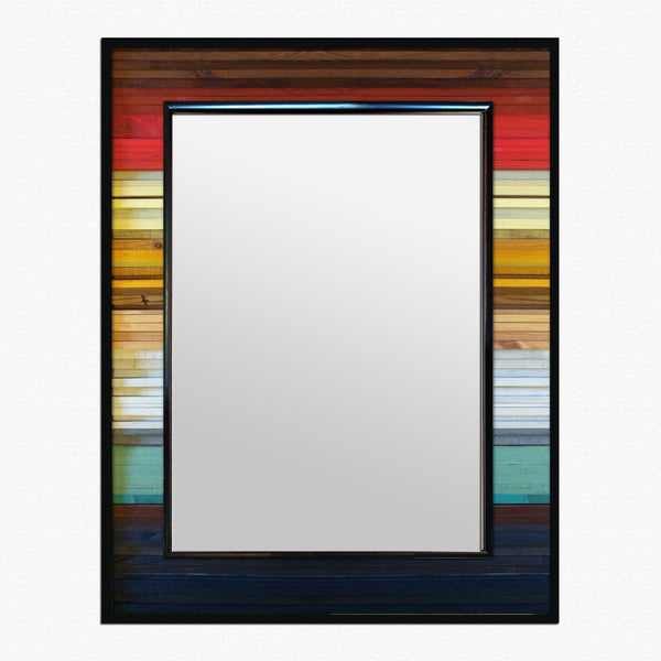 Shorter Gradient Wood Wall Art Mirror - Vertical