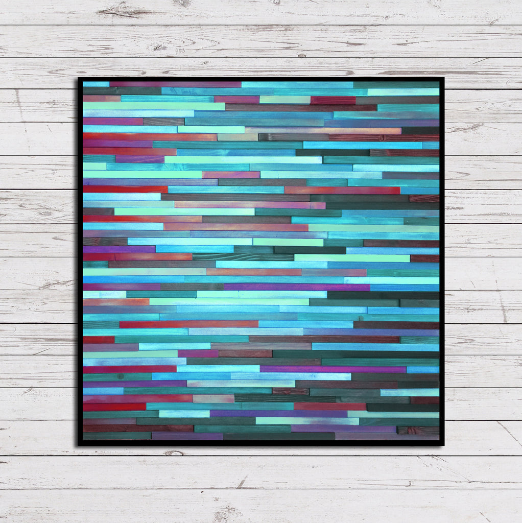 Purple and Teal Echeveria Reclaimed Wood Art