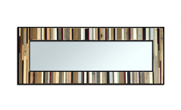 Reclaimed Tonal Reflection Wood Wall Art - Leaner Mirror