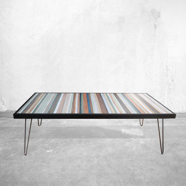 Beach Reclaimed Wood Stripe Desk or Coffee Table