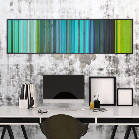 8x25 Lagoon -  Modern Wood Wall Art