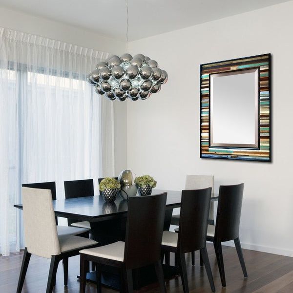 Blue and brown reclaimed wood mirror in dining room