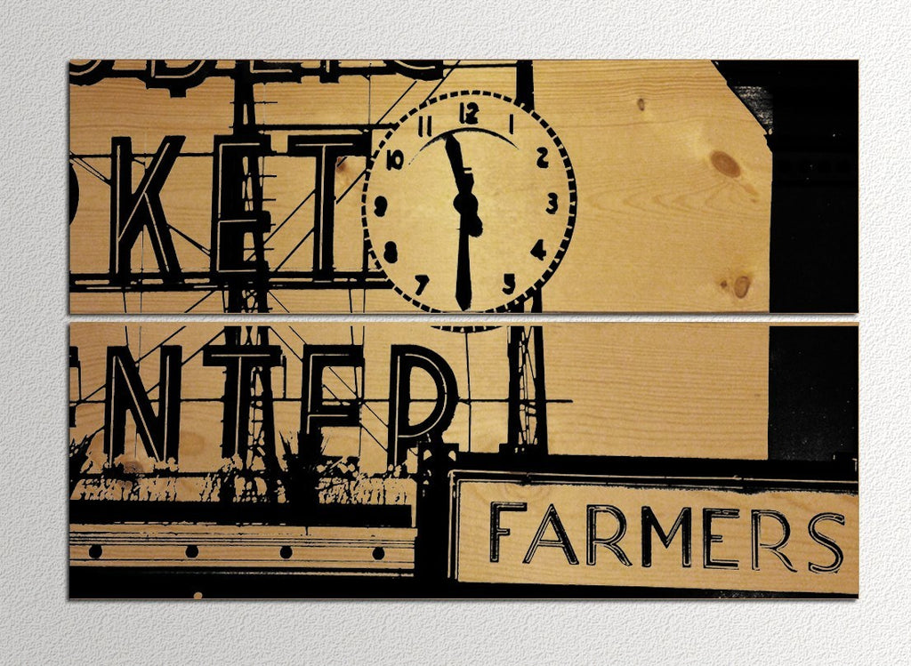 Panel Prints - Seattle Pike Place Market Sign - Wood Panel Print