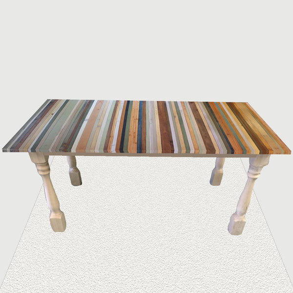 Beach Wood Stripe Dining Table in brown, tan, blue, and green with white legs