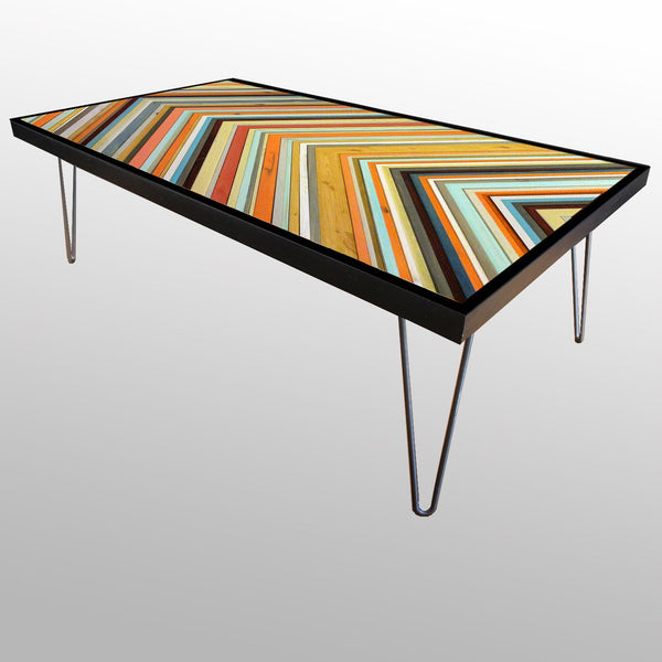 Tables - Chevron Table In Coral Reef Colors