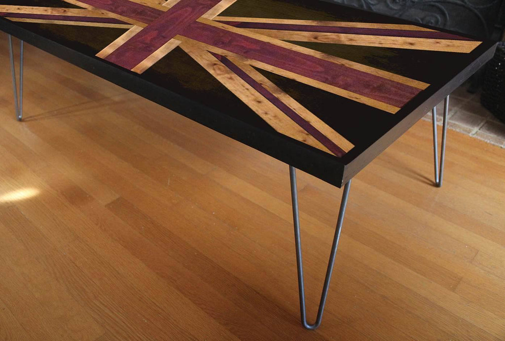 Beau Tables   UK Union Jack Flag Weathered Reclaimed Wood Table